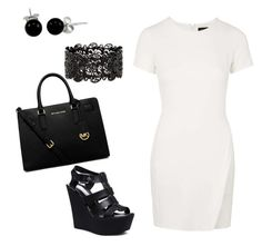 """Black and White affair !"" by kiaraamonae on Polyvore featuring Topshop, Steve Madden, Bling Jewelry and MICHAEL Michael Kors"