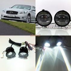 July King 1600LM 24W 6000K LED Light Guide Q5 Lens Fog Lamp+1000LM 14W Day Running Lights DRL Case for Infiniti M25 M35 M35h M45
