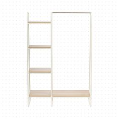 Dotted Line™ Dillon W Garment Rack Color: White/Light Brown Refacing Kitchen Cabinets, How To Store Shoes, Closet Rod, Garment Racks, Closet Space, Closet Organization, Organizing, Wooden Shelves, Wardrobe Rack