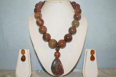 Single Line Semi-Precious Stone Necklace Made With Jasper Rounds.