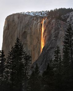 "Horsetail Fall / ""Firefall"" in Yosemite;  for two weeks a year the sun catches the water perfectly."