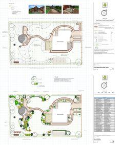 projekt małego ogrodu o swobodnym układzie kompozycyjnym; landscape plan;