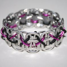 Pink and Black Stretchy Pop Can Tab Bracelet with Xs