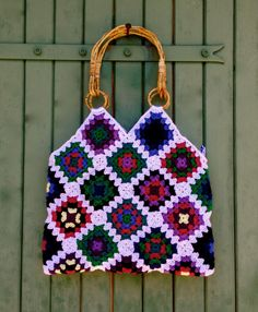 crochet granny square & denim bag with bamboo handles par hooknhula, $114.00