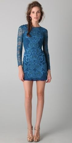 Matthew Williamson long sleeve lace dress - I love the two different types of lace, the color - the demure top and sexy botton - beautiful.