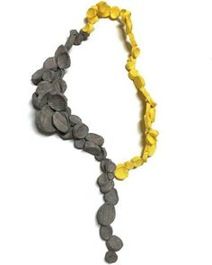 Mina Kang necklace, color assymetry, yellow and grey, long necklace, contemporary jewelry #contemporaryjewelry