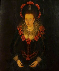 Portrait of an Unknown Woman (formerly called 'Queen Anne of Denmark') by Anglo/Netherlandish School (British National Trust) ~ 1610-15