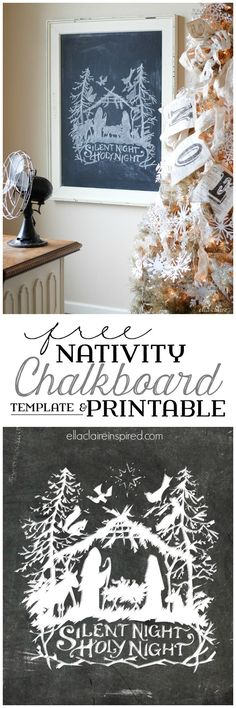 Print the Chalkboard printable as-is or use the free template and tutorial to create your own Nativity Chalkboard Art!