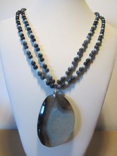 Statement necklace with grey and light blue agate Beach by yasmi65, $40.00