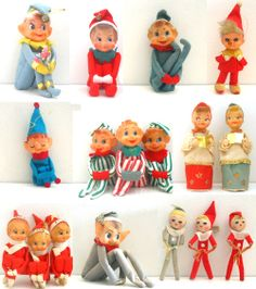 Collection of vintage Christmas knee hugger pixie elves.  These were sold in dime stores but also given away in laundry boxes & wrapped to the outside of liquid soap detergents!