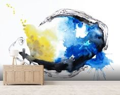 Watercolour Abstract Painting with a Fish Shape mural wallpaper