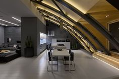 This modern loft apartment in Kiev, Ukraine used to be a non-residential space with steel beam arc structure. It has been converted into a stylish loft by ArhObraz. Architecture Design Concept, Roof Architecture, Roof Structure, Roof Design, Design Design, Ceiling Design, Design Ideas, Dining Room Design, Vintage Decor