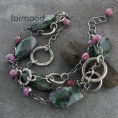 zoisyt z rubinem i rubin - bransoletka Biżuteria Naszyjniki formood