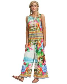 Summer Floral Vacation Home Print Sleeveless Wide Leg Boho Jumpsuit Jumpsuit Style, Bodycon Jumpsuit, Daily Wear, Color Blue, Going Out, Wide Leg, Size Chart, Jumpsuits, Blue And White