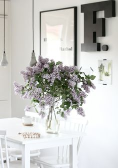 lilac, black and white