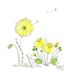 Dandelions and gold buttons - the Chosettes - Euki Nimod - Aquarell Malen Watercolor And Ink, Watercolour Painting, Watercolor Flowers, Painting & Drawing, Art Floral, Art Carte, Art Et Illustration, Happy Paintings, Doodles