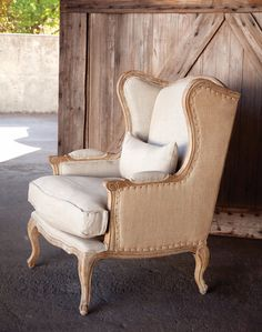 Shabby Chic Burlap & Linen Wingback Chair (Home Decor). Shipping is included in price. All sales final on furniture. Not Returnable. Chair Makeover, Furniture Makeover, Furniture Removal, Furniture Storage, Diy Furniture, Modern Furniture, Furniture Design, Poltrona Vintage, French Country Bedrooms