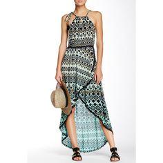 Gypsy05 Print Halter Hi-Lo Wrap Dress ($60) ❤ liked on Polyvore