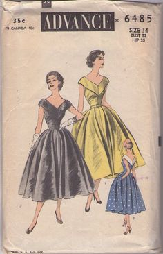 Advance 6485 Vintage 50's Sewing Pattern INCREDIBLE Rockabilly Era Mad Men Low Cut V Neck & Back, Slightly Off the Shoulders Full Flared Skirt Cocktail Party Dress, Evening Gown #MOMSPatterns
