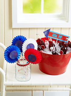 Decorate your home in the spirit of Independence Day with our red, white, and blue 4th of July decorations. These easy decorations cover every July 4th theme you can think of—including flags and fireworks—and they're cute to boot. #redwhiteandblue #4thofjuly #4thofjulyparty #partyideas #4thofjulydecorations #bhg Fourth Of July Decor, 4th Of July Decorations, 4th Of July Party, July 4th, Easy Decorations, Independence Day, Fireworks, Decorating Your Home, Easy Diy