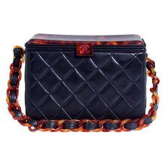 418c93c198c8 CHANEL Black Leather Box Bag