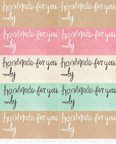 Stunning handrawn labels for your HandMade products designed by Falala Designs. You can head over to Everythingetsy.com and download each file seperatly or download the complete collection in a zip file at the bottom of this post.DOWNLOAD THE ZIPMore labels for your handmade products here and here