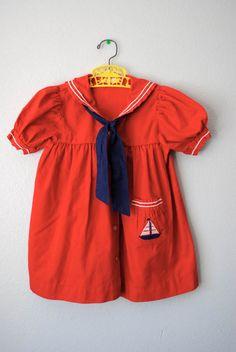 vintage girl red sailor dress