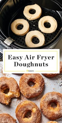 For ChinChin settings Easy Air Fryer Donuts Recipe. Looking for recipes and ideas for desserts to make in your air fryer? These doughnuts are made with storebought biscuits in a can or tube. Cinnamon sugar recipe included, but they'd also be great glazed. Air Fryer Oven Recipes, Air Frier Recipes, Air Fryer Dinner Recipes, Air Fryer Recipes Donuts, Air Fryer Recipes Breakfast, Airfryer Breakfast Recipes, Air Fryer Doughnut Recipe, Air Fryer Recipes Vegetables, Easy Donut Recipe