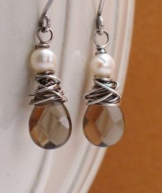 Sarah  Pearl and Smokey Quartz Earrings on Oxidized by trillium, $24.00