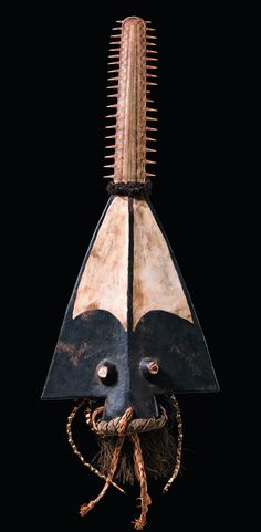 Africa | Sawfish headdress from the Bidyogo people of the Bissagos Islands, Guinea Bissau | Wood, pigment and natural fiber