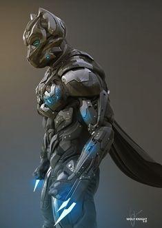 Wolf Knight Richie mason on ArtStation- cyber punk hero Character Concept, Character Art, Character Design, Armor Concept, Concept Art, Wolf Knight, Knight Art, Science Fiction, Arte Robot