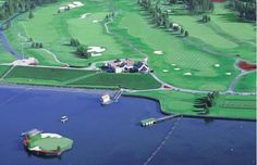 Coeur d'Alene Resort in #Idaho features a floating green for its third hole — and, it's safe to assume, a stretch of water teeming with wayward golf balls. #golf #travel #vacation