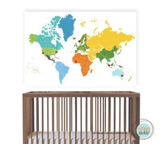 World Map Decal with hearts and dots stickers, Heritage World Map, 35 X52 Inches, Nursery Decor, Baby Room, Play room ideas. $78.00, via Etsy.