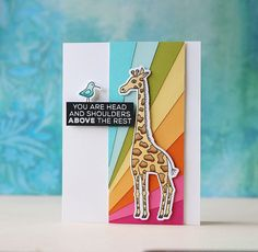 Fun & colorful encouragement cards by Laura Bassen using Animal House sets June The Giraffe & Lorenzo The Llama by Technique Tuesday Giraffe Birthday, Rainbow Paper, Animal Cards, Cards For Friends, Card Making Inspiration, Winter Cards, Business For Kids, Sympathy Cards, Card Kit
