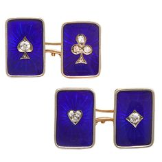 1stdibs - Antique Russian Enamel and Diamond Card Suit Double Cufflinks explore items from 1,700  global dealers at 1stdibs.com