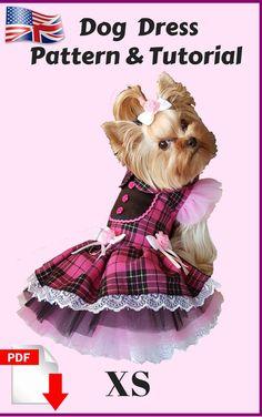 Dog dress with ruffle tulle skirts, size x small. #smalldogfashion #dogdress #dogclothing #howtomake #sewingpattern #smalldog Dog Clothes Patterns, Girl Dress Patterns, Sewing Patterns, Girl Dog Clothes, Small Dog Clothes, Dog Coat Pattern, Hoodie Pattern, Pekinese, Dog Tutu