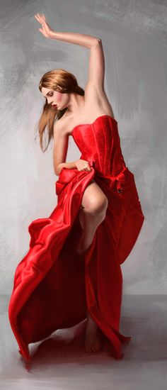 Dancing Woman in Red by Jesus Flores a.k.a. Jeeso {female digital painting}