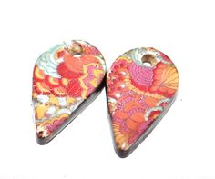 Unusual Ceramic Earring Charms Pair Rustic Stoneware by Grubbi