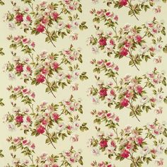 Fabric designed in 1957 by the Parisian studio, Pollet, 'Eglantine' is a charmingly romantic composition of rose branches and petals, illustrating a loose painterly style typical of French designs of the Vintage Floral Fabric, Retro Fabric, Vintage Fabrics, Vintage Prints, Vintage Patterns, Cath Kidston Wallpaper, Fabric Wallpaper, Decoupage, Sanderson Fabric