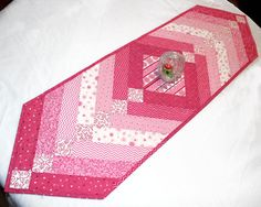 French Braid Valentines Day Table Runner Quilt by QuiltSewPieceful