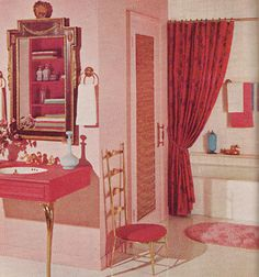 Pink and Gold Bathroom '61 - not sure what I think about this...but intrigues me...love the mid-century glam