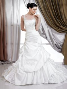 The stunning elegant A-line one shoulder white satin floor-length chapel train wedding dress with the ruffles and embroidery bodice and the lace up back
