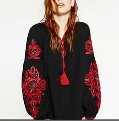 Cheap black blouse, Buy Quality blouses tops directly from China blouse lanterne Suppliers: 2017 women's fall season fashion black blouses lantern sleeve embroidery boho retro shirts O-neck national style blouses top Casual Tops For Women, Blouses For Women, Loose Shirts, Long Sleeve Shirts, Button Shirts, Shirt Sleeves, Tops Bordados, Blusas Top, Style Noir