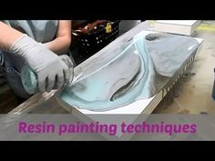Resin painting with acrylic paint and spray paint - YouTube
