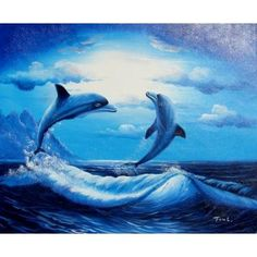 Dolphin Play - Hand Painted Oil on Canvas