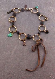 ezebee.com - Onyx and Brass ring Necklace