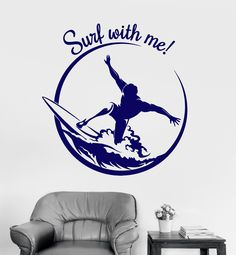Vinyl Wall Decal Surf Surfing Quote Extreme Sport Teen Room Stickers Unique Gift (ig3482)