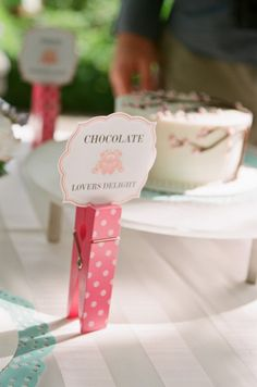 Colorful Clothespin Clips identify the Cake Flavors!