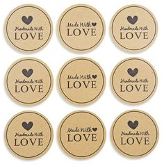 Sticker HANDMADE WITH LOVE slogan with hearts kraft paper graphics round 38 mm scrapbooking decoration gifts hand made by me set 48 pcs Gift Tags Printable, Printable Stickers, Love Slogan, Heart Graphics, Love Label, Handmade Gift Tags, Etsy Business, Business Stamps, Christmas Gift Tags