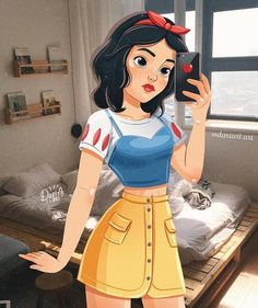 Kiev-based illustrator Daria Artemieva reimagines Disney princesses as if they're modern millennials. Each present-day princess wears contemporary outfits that pay homage to their signature style. The artist has even given some iconic Disney couples moder Disney Fan Art, Disney Pixar, Heros Disney, Disney And Dreamworks, Disney Girls, Disney Couples, Anime Couples, Disney Icons, Punk Disney